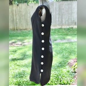 Vintage Black Tank Dress with Shell Buttons